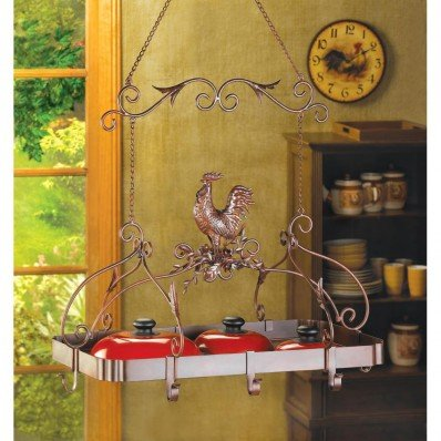 Ceiling hanging kitchen country rooster decor pot pan lid rack holder organizer