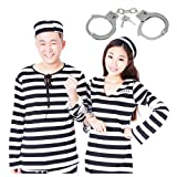 (Boa Sorte)囚人服 白黒ボーダー柄 囚人服ワンピース えらべる男女 ペアルック 選べる2サイズ ハロウィン 衣装 コスプレ にぴったり♪ (男性Mサイズ)