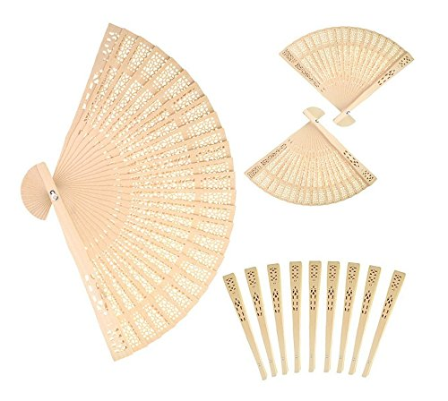 Peicees 24pcs Sandalwood The Hollow Out Printing Craft Fan for Wedding Favors & Gift (Sandalwood Folding Fan compare prices)