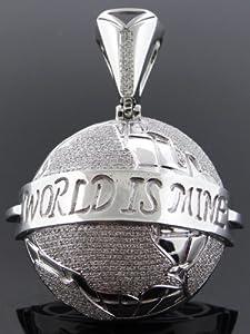 Designer Hip Hop Men's Globe Charm Pendant 10k White Gold 2.25ct Diamond SDP-1372BW