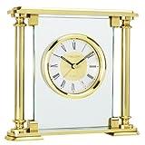 Brass Glass Finish Quartz Mantel Clock with Alarm by London Clock Company