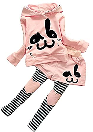 Baby Girls Kids Toddlers Cute Rabbit Coat Pants Sportswear Outfit Hoodie Clothes