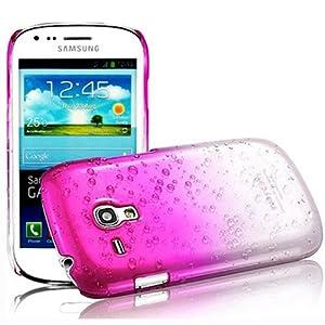 Semoss 1 X Transparent Goutte de Pluie Plastique Etui Coque Housse Hardcase pour Samsung Galaxy Trend GT-S7560 / Galaxy S Duos S7562 - Rose