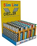 Slim Line Checker Electronic Lighters Piezo Butane Refillable - Pack Of 50 with Stand