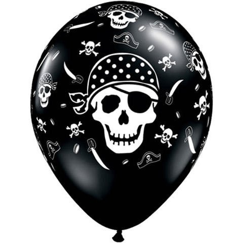 "11"" Pirate Skull & Cross Bones Around Balloons (10 per package)"