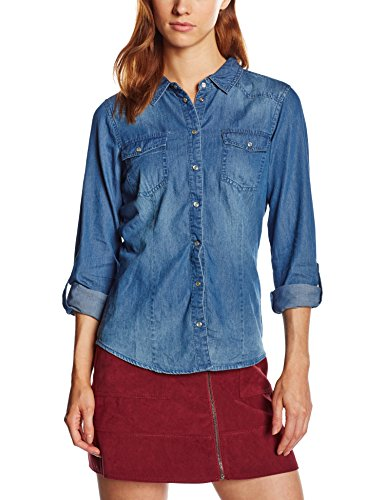 ONLY 15109179-Camicia  donne,    Blu (Dark Blue Denim) 34 (taglia del produttore: 34)