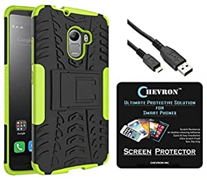 Chevron Tough Hybrid Armor Back Cover Case with Kickstand for Lenovo K4 Note with HD Screen Guard & Micro USB Data Cable (Green)