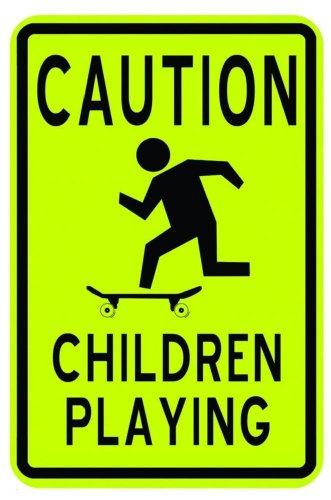 Design with Vinyl Design 225 Caution Children Playing Road Sign Peel and Stick Vinyl Wall Decal Sticker, 9-Inch By 18-Inch, Black