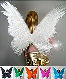【ノーブランド品】天然羽コスプレ道具天使の翼羽模様クリスマス80*90cmハロウィン仮装衣装変装グッズコスチュームコスプレ天使エンジェル発表会悪魔の翼6colorホワイト