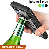 iPhone 6S Plus Case, ZVE Multifunctional Cigarette Lighter Cover for iPhone 6S Plus 5.5'' Built-in Cigarette Lighter/bottle Opener/Shockproof Case (Black-iPhone 6 plus 5.5'')