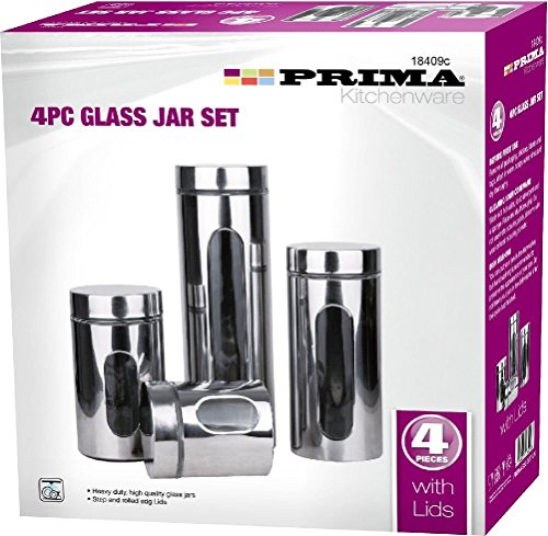 4pc Stainless Steel Tea, Coffee, Pasta, Sugar, Kitchen Glass Jar Canister Storage
