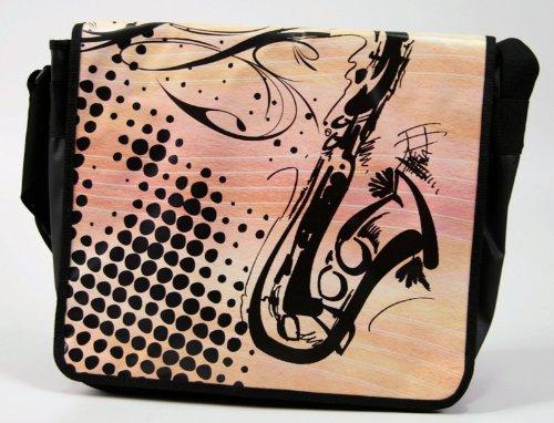 Laptoptasche-Messengertasche-Saxofon-mit-Taschendeckel-zum-Wenden