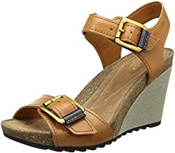 Clarks Overly Sparkle, Sandales compensées femme - Marron (Tan Leather), 36 EU (3.5 UK)