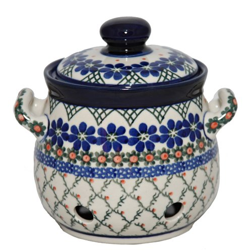 New Polish Pottery Garlic Keeper Boleslawiec Ca Pattern 854A European Stoneware