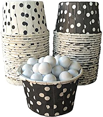 Black and White Polka Dot Candy Nut Cups Mini Cupcake Ice Cream Cups Birthday, Wedding, Over the Hill Party Supply 48 Ct. Outside the Box Papers