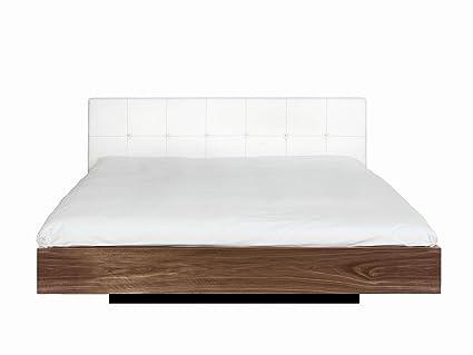 Temahome Float Bett, Kunstleder Kopfteil 160 cm Weiß weißes Kunstleder Walnuss