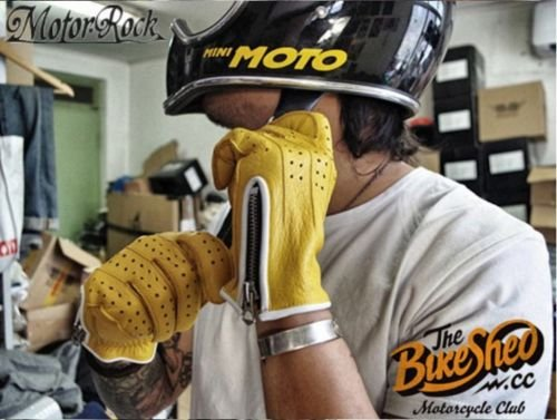 New Deerskin Leather Retro Vintage Motorcycle Gloves Riding Zipper Hole Yellow 0
