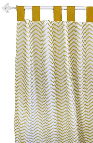 New Arrivals Curtain Panels, Gold/White, 2 Count