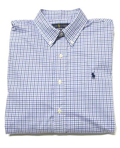 Ralph Lauren Men'S Dress Shirt, Button-Down, Pony Logo, Custom Fit (Large, Blue Check / Navy Pony)
