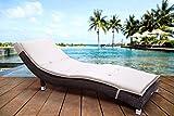 Gartenliege aus Polyrattan Sonnenliege in geschwungenem Design Braun OneSize