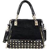 Damen Nietentasche bag Tasche modern Nieten Handtasche 2 Farben (schwarz)