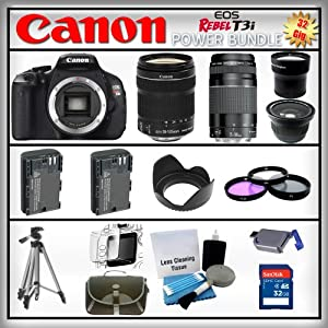 Canon EOS Rebel T3i 18MP - Canon EF-S 18-135mm f/3.5-5.6 IS - Canon EF 75-300mm f/4-5.6 III - Wide Angle and 2x Telephoto Zoom Lens - 32GB Memory Card - Card Reader - 2 Batteries - Tulip Lens Hood - 3 Piece Lens Filter Kit - Carrying Case - Screen Protector - Lens Cleaning Kit - Full Size Tripod