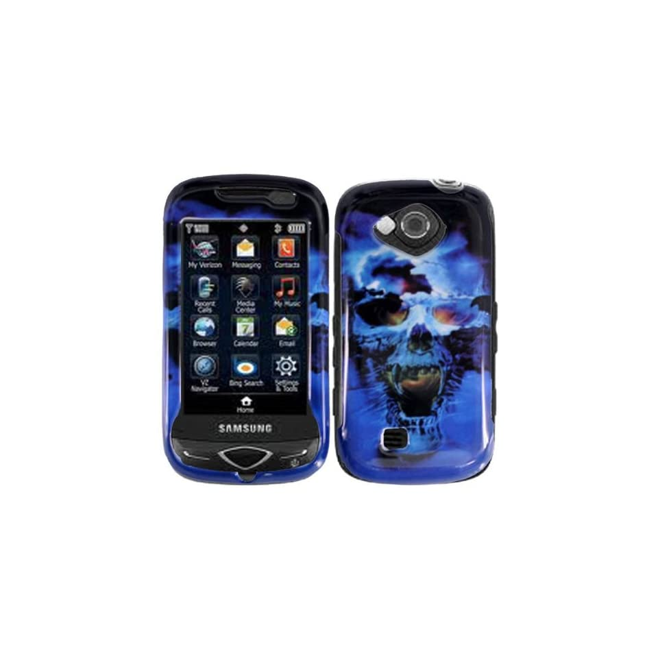 Ice Cold Blue Flame Skull Snap on Hard Skin Cover Case for Samsung Reality Sch u820 + Microfiber Pouch Bag + Case Opener Pick Cell Phones & Accessories