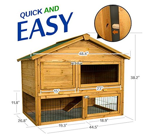 484-Wooden-Rabbit-High-Duality-Portable-Hutch-House-Chicken-Coop-Pet-Cage