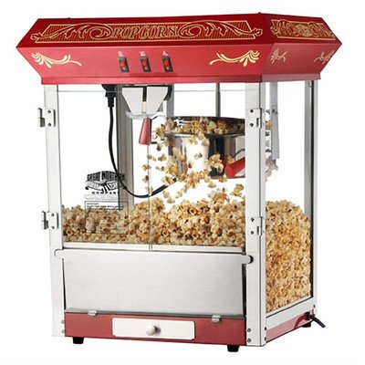 Great Northern Popcorn Old Time Popcorn Popper Machine Countertop, 8-Ounce, Red