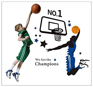 Salala No.1 We Are The Champions Quotation A Man Playing the Basketball for Men or Boys' Bedroom Wall Stickers Decor by Salala