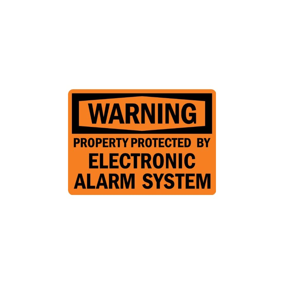 SmartSign Adhesive Vinyl Label, Legend Warning Protected by Electronic Alarm System, 7 high x 10 wide, Black on Orange