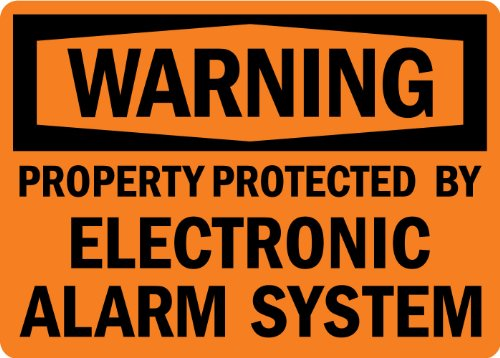 "Smartsign Plastic Sign, Legend ""Warning: Protected By Electronic Alarm System"", 7"" High X 10"" Wide, Black On Orange"