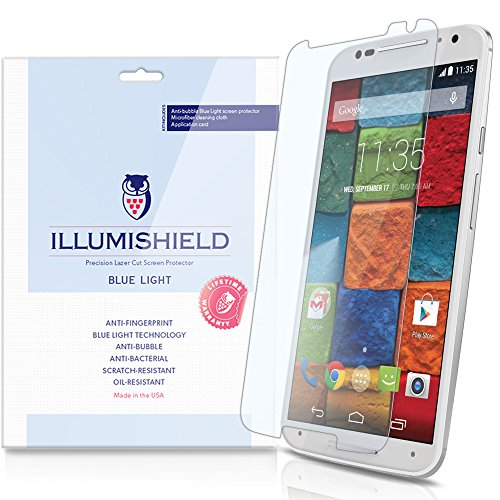 Illumishield - Motorola Moto X Screen Protector (2014) (2Nd Generation) With Hd Blue Light Uv Filter And Lifetime Replacement Warranty / Premium High Definition Clear Film / Reduces Eye Fatigue And Eye Strain - Anti- Fingerprint / Anti-Bubble / Anti-Bacte