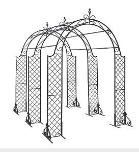 Powder-Coated Steel Connectors for Flat Arbor Trellis, in Black Set of 6