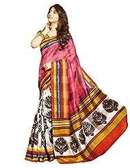 Inddus Exclusive Women Art Silk Printed Pink Saree - B00NGDVL10