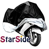 StarSide XXXL Motorcycle Motorbike Water Resistent Waterproof Rain UV Protective Breathable Motor Cover for Yamaha harley-davidson Outdoor Indoor Black Silver Extra Extra Extra Larger
