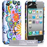 White / Multicoloured Floral Rainbow Pattern Silicone Gel Case Cover For The Apple iPhone 4 / 4S Wit