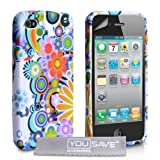 White / Multicoloured Floral Rainbow Pattern Silicone Gel Case Cover For The Apple iPhone 4 / 4S With Screen Protector Film And Grey Micro-Fibre Polishing Clothby Yousave