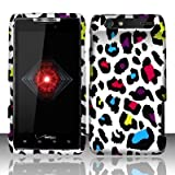 Motorola Droid Razr xt912 Accessory - Rainbow Leopard Spot Skin Design Protective Hard Case Cover for Verizon + 4.5 INCHES Screen/Lens Cleaning Cloth