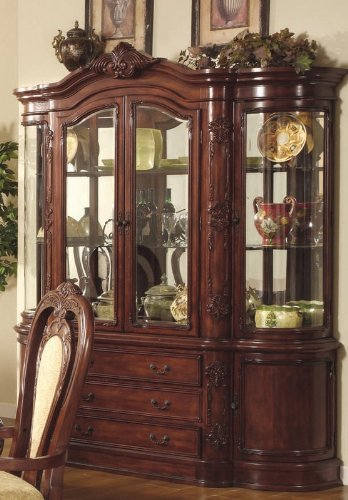 Cheap China Cabinet Buffet Hutch with Elaborate Carvings Cherry Brown Finish (VF_101304)