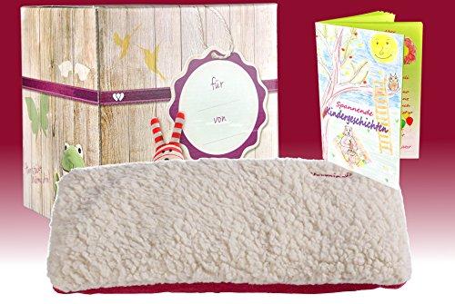 warmies-geschenkset-hot-pak-sherpa-beige-rot-mit-minzduft-warme-hot-pak-edle-geschenkverpackung-heft