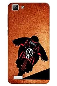 Omnam Boy Riding Scooter Designer Back Cover Case for Vivo V1