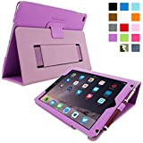 iPad Air 2 Case, Snugg™ - Smart Cover with Flip Stand & Lifetime Guarantee (Purple Leather) for Apple iPad Air 2 (2014)