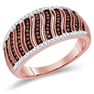 Brown Diamond Band Striped Ring Fashion 10k Rose Gold (0.40 ct.tw) Size 7