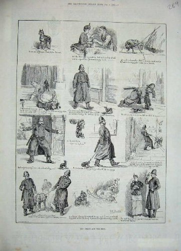 1886 Police Men Dogs Streets Town Uniform Old Print
