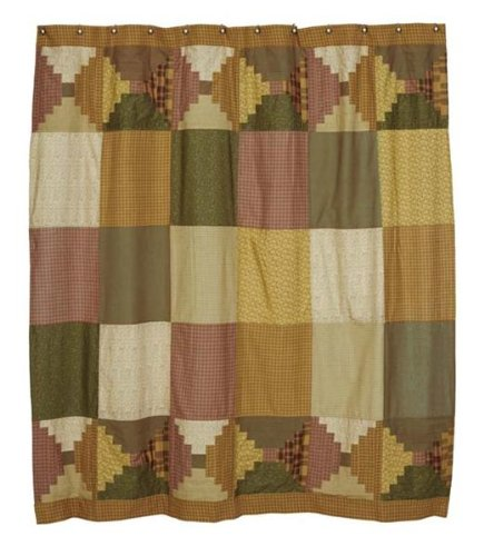 Walnut Grove Shower Curtain In Rustic Country Log Cabin Pattern front-902275