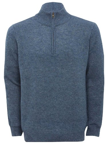 Mens Lambswool Half Zip Pullover Jumper Denim L