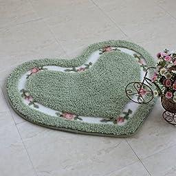 DizHome Nice Personalized Mats Romantic Full House Love Heart Shaped Doormat Indoor Rugs Door Mats Washable Non Slip 50 x 65cm (Green)