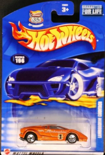 Hot Wheels 2002-196 RED Lamborghini Countach with race and win code 1:64 Scale - 1