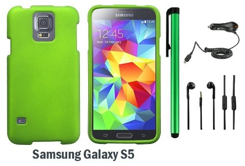 Samsung Galaxy S5 Premium Design Protector Hard Cover Case (2014 March Released; Carrier: Verizon, At&T, T-Mobile, Sprint) + Car Charger + 3.5Mm Stereo Earphones + 1 Of New Assorted Color Metal Stylus Touch Screen Pen (Neon Green)